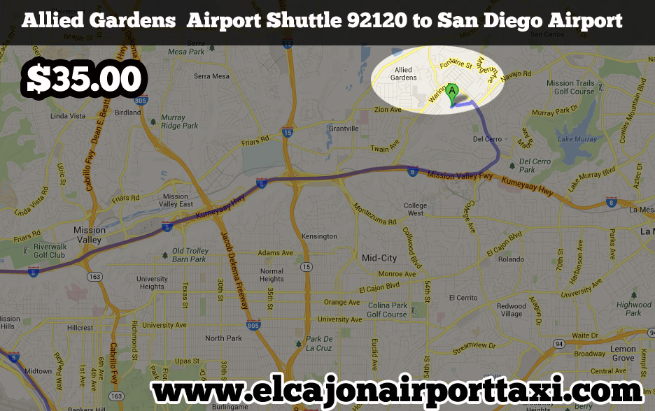 allied gardens airport taxi 92120