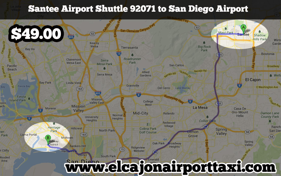santee to san diego airport taxi